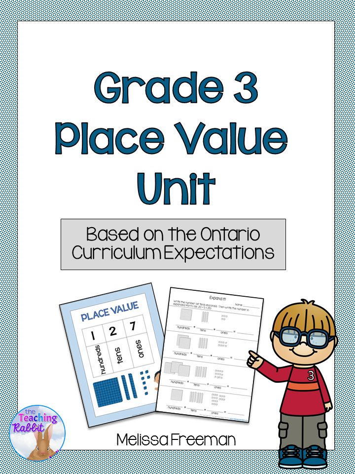 "This Place Value Unit for Grade 3 contains lesson ideas, worksheets, task cards, an ""I Have Who Has"" game, and a 3 page test. It is based on the Ontario Curriculum Expectations for Grade 3 Math."