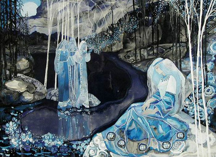 Singing all the dirge of Aino.  All that night the weary maiden  Wept and wandered on the border  Through the sand and sea-washed pebbles.   As the day dawns, looking round her,  She beholds three water-maidens,  On a headland jutting seaward,  -Kalevala                                                                   Neljäs runo (Crawford translation)    Illustration from a Russian edition of Kalevala