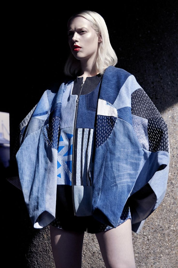 elina priha varsity SS15 collection from recycled denim « Outi Les Pyy. Sustainability in fashion. Denim coat cape. Indigo