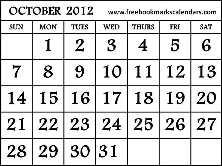 free printable calendar october 2012