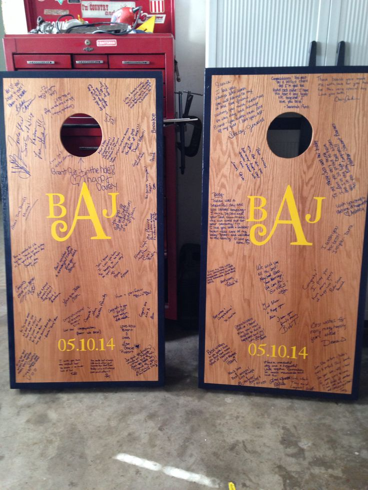 Our wedding corn hole guest book