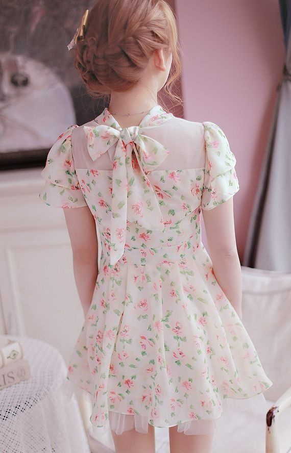 Japanese Fashion dress, floral pattern, lace bow in the back, and tulle