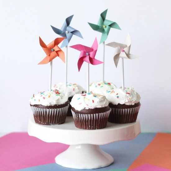 Make pinwheel cupcake toppers that actually spin. Takes just 2 minutes using these simple steps. Perfect for colorful birthday cupcakes.