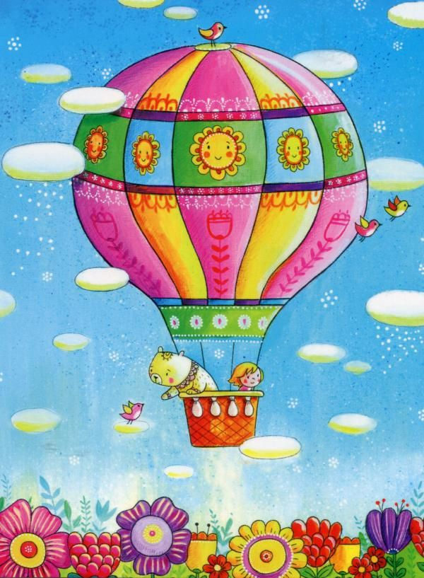 Рисунок дети на воздушном шаре