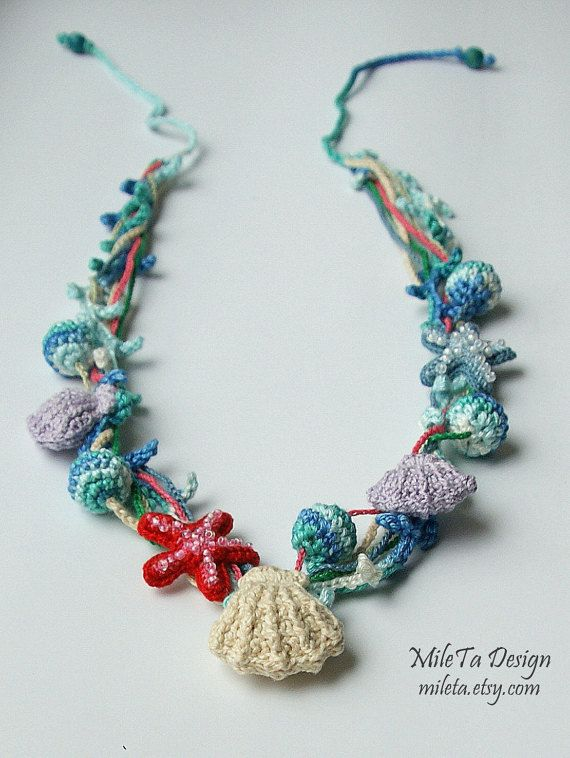 Crocheted Necklace with Shells, Sea Stars and Beads, Necklace Maritime, Necklace Sea Style