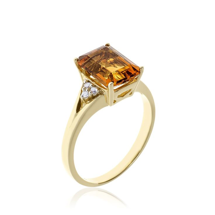 10kt yellow gold citrine and diamond ring.
