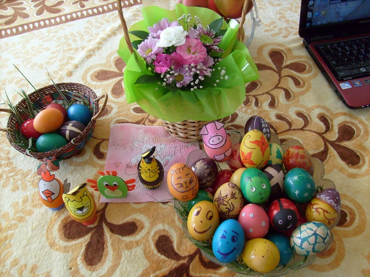 Easter coloured eggs