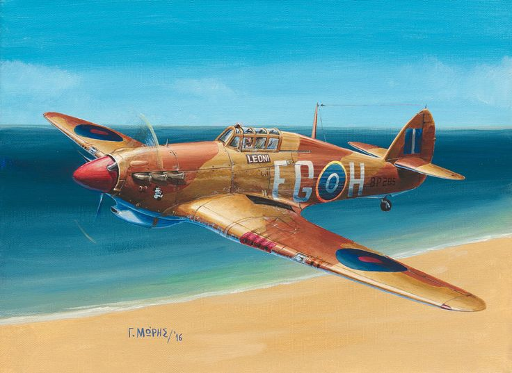 """Hurricane Mk.IIb """"LEONI"""" / FG-H, Serial: BP285 of the 335th Hellenic Squadron, N.Africa, 1943. The plane has been previously named """"HERO"""", but changed name and had a Mickey added on the nose before '43. Painting by Moris Georgios / Μώρης Γεώργιος"""