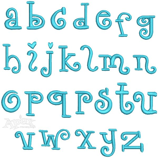 Seth Embroidery Set Includes: Lowers Case 1.5 inch Letters. This cute fonts alphabet has great bold letters