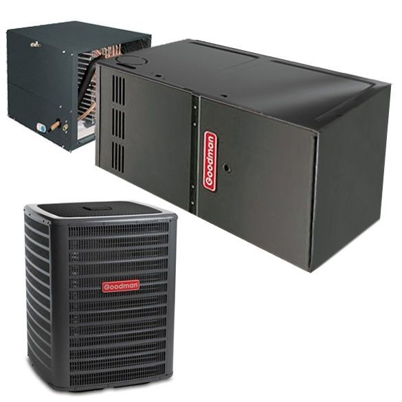 2 Ton Goodman Gsx140241 14 Seer Central Air Conditioner 40 000 Btu 80 Efficiency Gas Furnace Horizontal System Heat And Cool Household Ap In 2020 Energy Efficient Homes Air Conditioning System Heating Cooling