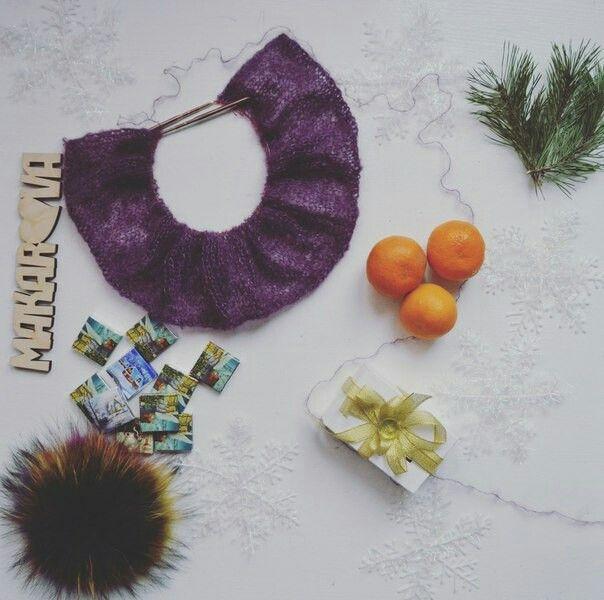 Новый год,мохер,цветной помпон,процесс