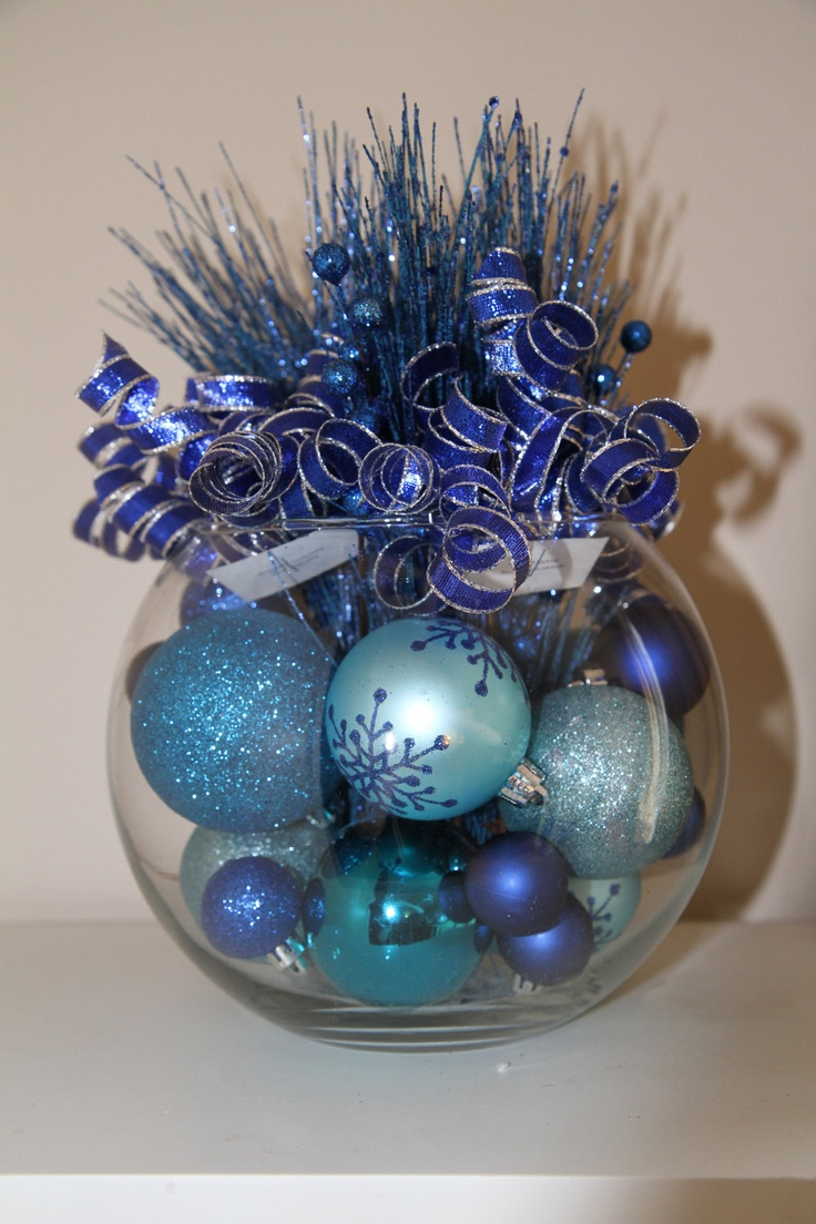 How to make christmas centerpieces with ice - Winter Wonderland Christmas Centerpiece Hanukkah Centerpiece Winter Home Decor Holiday Party Decoration Christmas Party Ice Blue