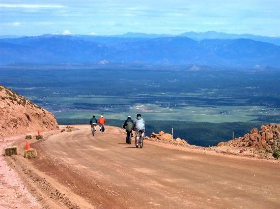 Biking down pikes peak in Colorado