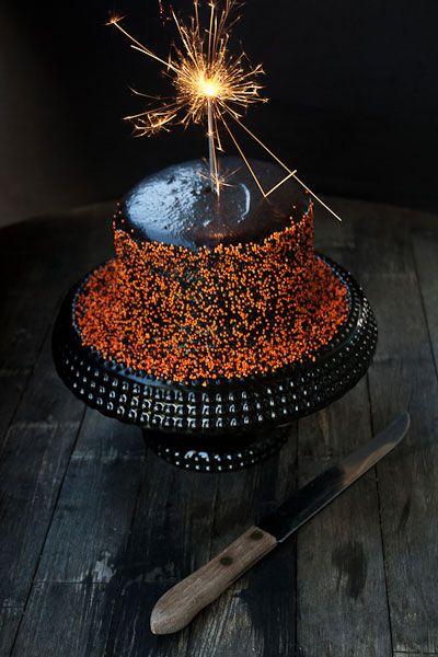 Halloween Black Velvet Cake with Orange Sprinkles {food plus words}