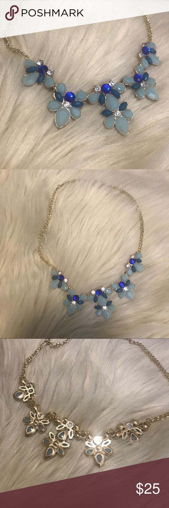 Blue & Gold gemstone statement necklace BNWT! PAWSitively Posh Boutique Jewelry Necklaces