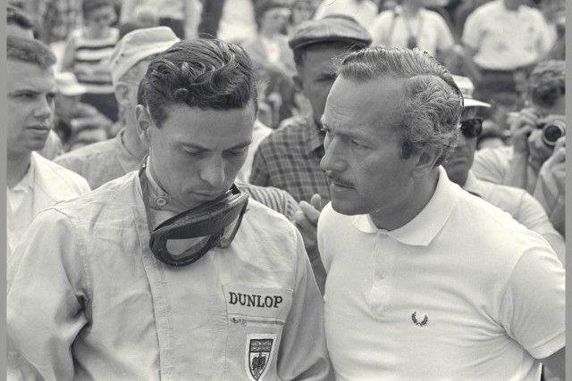 (Photo by Dave Friedman courtesy of the Ford Racing Archives) Indianapolis, Indiana, 1964. Jim Clark and Colin Chapman confer before Clark's qualification run for that year's Indianapolis 500. ~ Fumes - Autoextremist.com ~ the bare-knuckled, unvarnished, high octane truth...