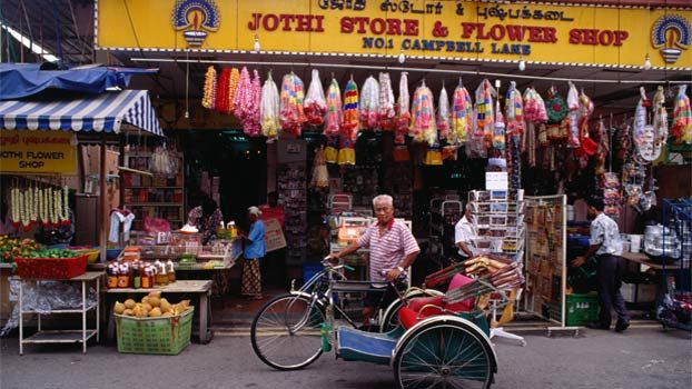Trishaw in front of shop, Little India. (Photo: Richard I'Anson ...