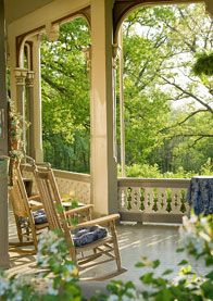 sitting on the front porch of Garth Woodside Mansion, Hannibal, MO