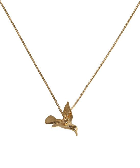 Gold Plated Hummingbird Necklace, Alex Monroe from liberty