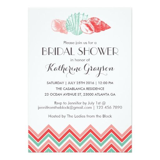 274 best beach bridal shower invitations images on pinterest white sea shells beach bridal shower invitation filmwisefo Image collections