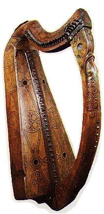 Brian Boru Harp in Trinity College Dublin,  [The Brian Boru harp.] not originally from the time of Brian, but was made in 1220 for Donnchadh Cairbre O'Brien, King of Thomond, it has 30 metal strings. Throughout its history the harp was in the possession of many including some kings.