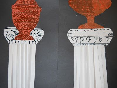 Third graders made these awesome Greek vases and columns
