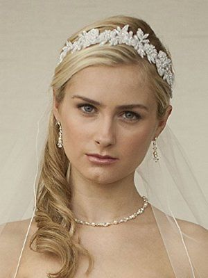 Mariell Handmade White Beaded Lace Bridal Headband - Designer Wedding  Headpiece 444c406438f