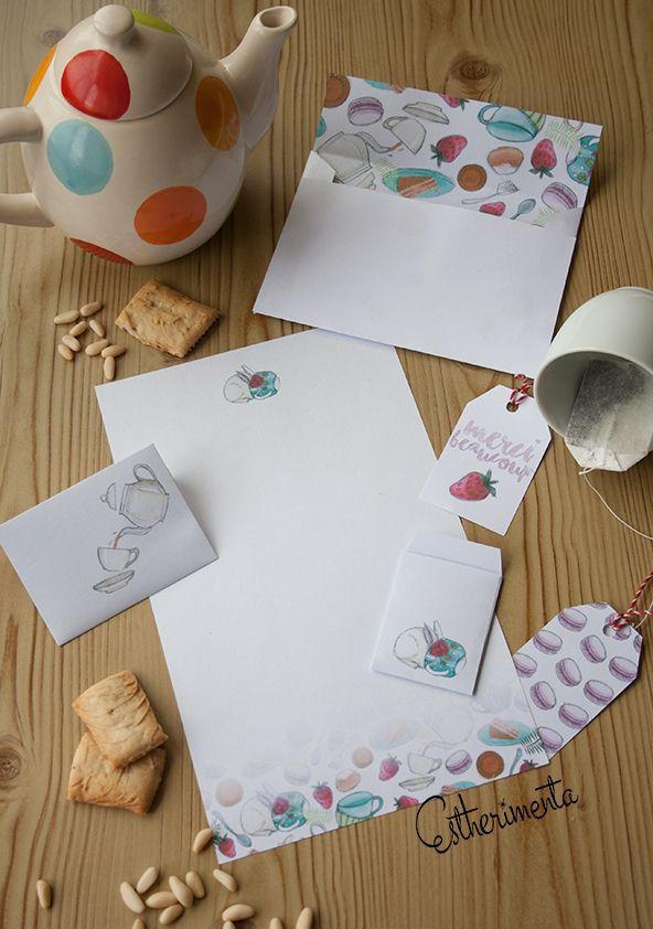 Лист для письма, конверт и ярлычки для чайных пакетиков | Awesome Print Studio