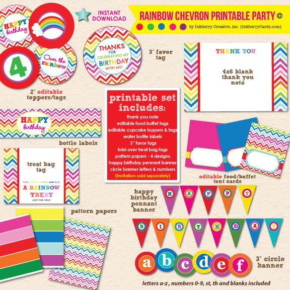 Rainbow Chevron Birthday - DIY Printable Party Pack