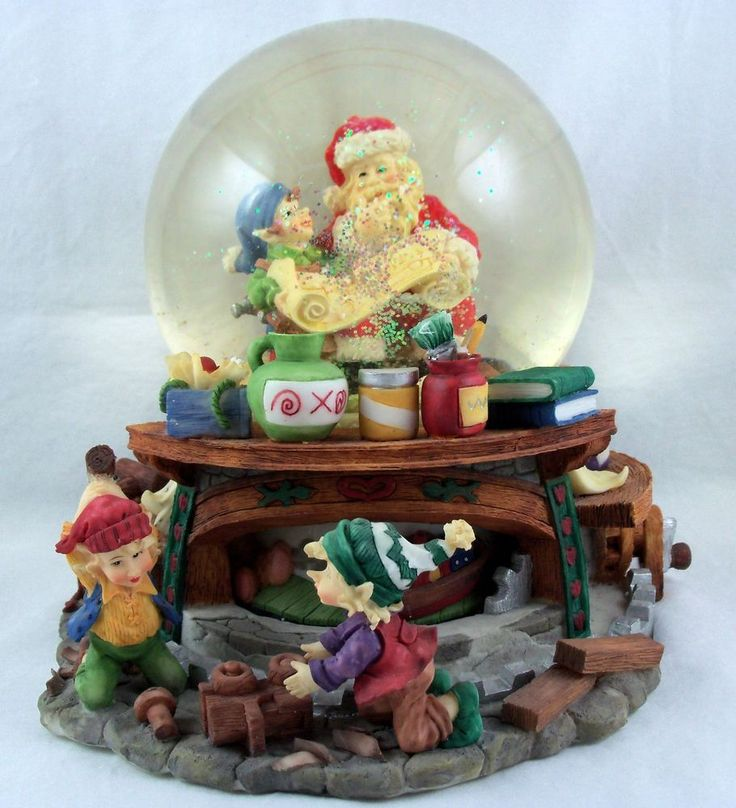 Christmas musical snow globe dome with motion santa claus