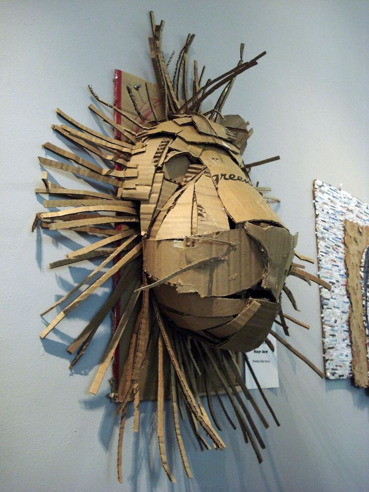 Recycled Art, made from cardboard. Could do Lion for wizard of Oz diff character each day