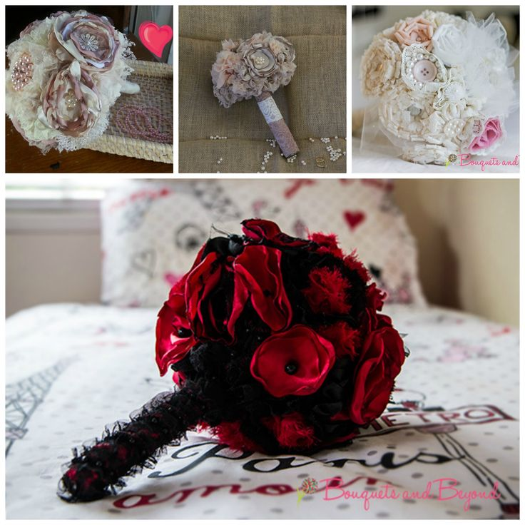 Collage of Bouquet and Beyonds most popular wedding bouquets. All handcrafted and custom made to suit any theme. An everlasting keepsake of your special day