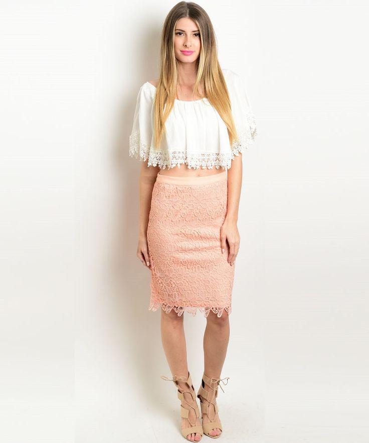 Peach Crochet Midi Skirt