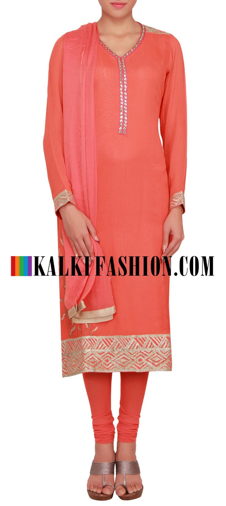 Buy Online from the link below. We ship worldwide (Free Shipping over US$100) http://www.kalkifashion.com/peach-straight-fit-suit-enhanced-in-mirror-and-gotta-patti-lace-only-on-kalki.html