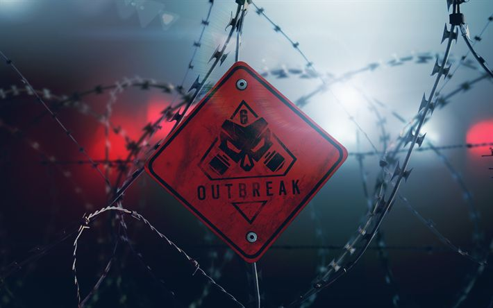 Download wallpapers Outbreak, 4k, Tom Clancys Rainbow Six Siege, art, road sign, Tom Clancys