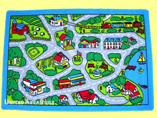 3x5 Area Rug Play Road Driving Time Street Car Kids City