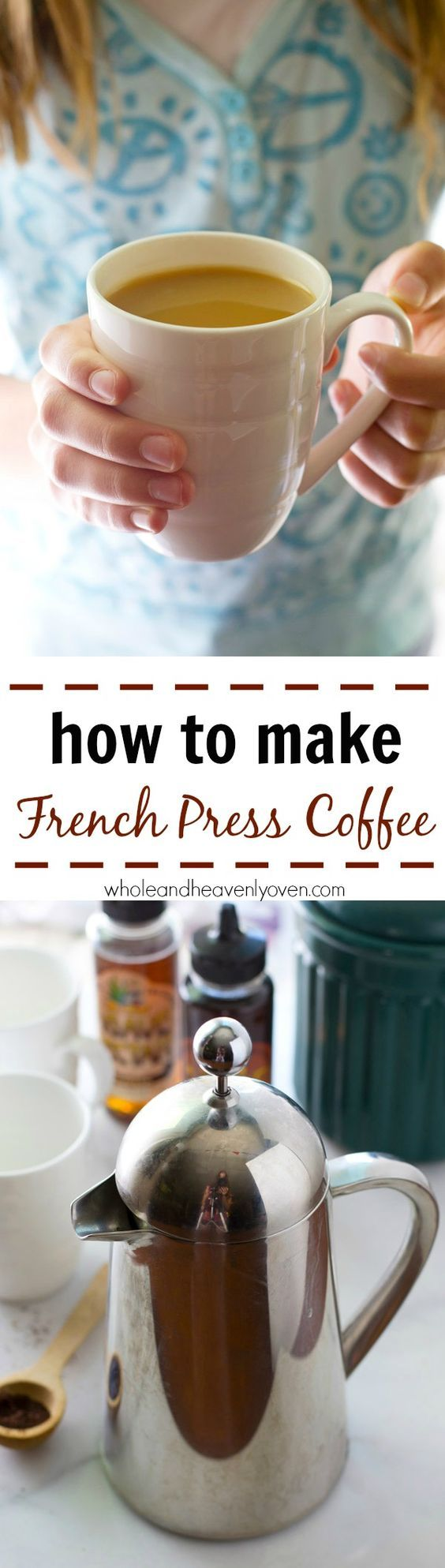 Once you learn how easy it is to make the perfect cup of french press coffee, you may never use your coffee maker again! Step-by-step photos included. @Sarah | Whole and Heavenly Oven