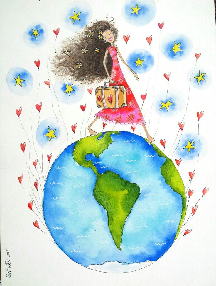 Daughter on OE... by Shelley Wilson #illustration #colourful #painting #whimsical #watercolour