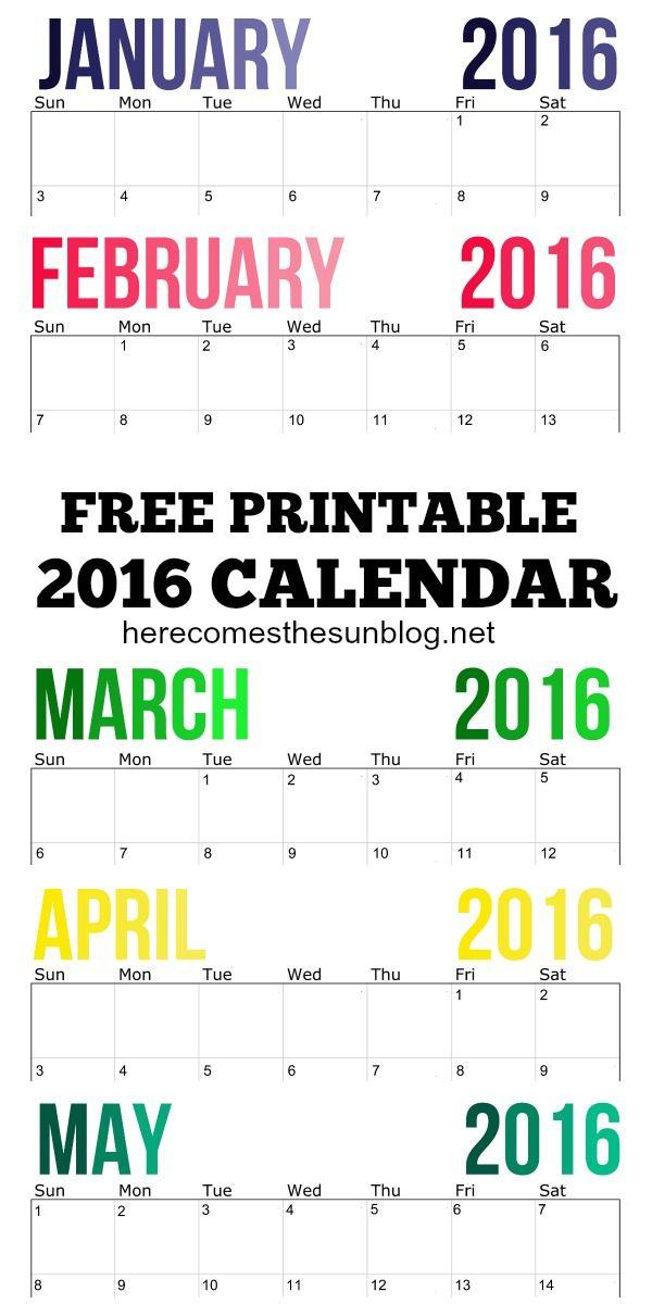 2016 Calendar - Free Printable   2016 calendar, Free