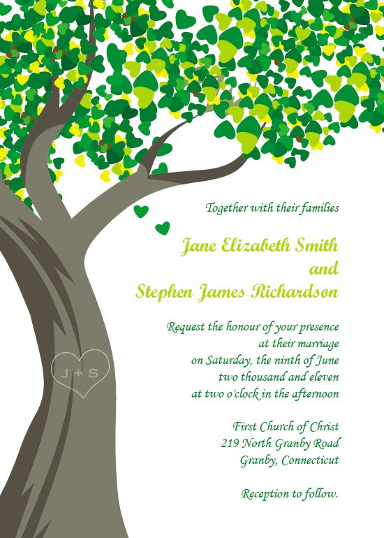 Tree With Initials Free Wedding Invitation Template