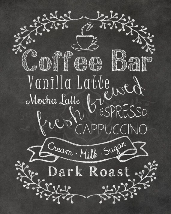 Decorate your kitchen or give the perfect gift to that coffee lover in your life. This digital chalkboard print will bring cheer to any home..