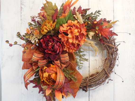 Fall initial wreath Elegant Fall wreaths Fall by ChickadeeLore