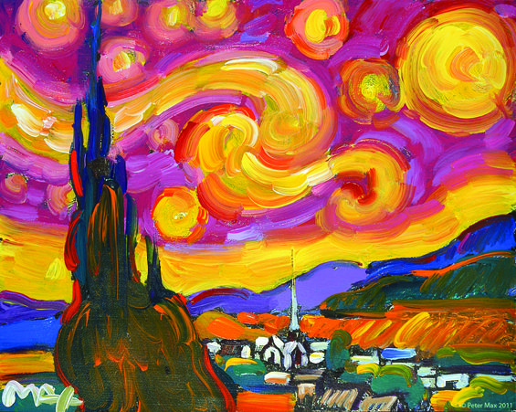 peter max art | Peter Max's rendition of Vincent Van Gogh's A Starry Night.