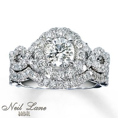 This is my fave! tried this on with my bf a couple weeks ago and I'm sold!  Neil Lane ring. Kay Jewelers - Diamond Bridal Set 2 ct tw Round-cut 14K White Gold