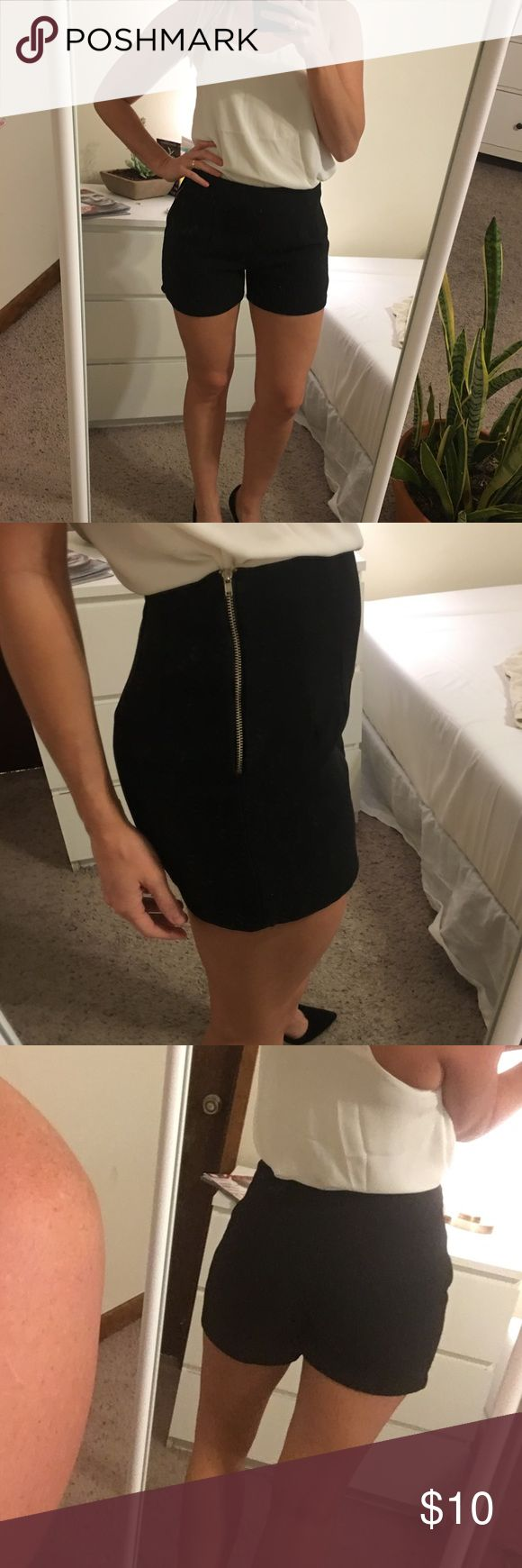 "Black high waisted stretch going out shorts lined Black stretch dressy shorts with lining and brass zipper. Caroline Hill. Size M/L. Fun with heels and a cute top for a night out. Polyester. I am 5'4"" 135 lbs, pear shaped, perfect fit!👌🏽 they have a little stretch, so would probably fit someone a bit smaller or larger, too. Shorts"