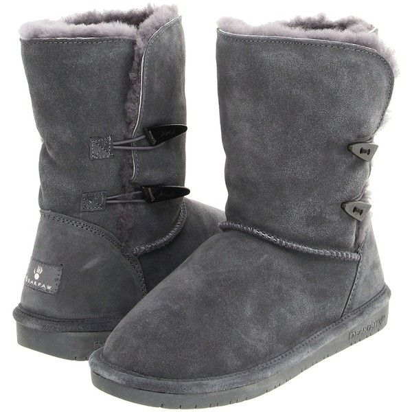 Bearpaw Abigail Women's Pull-on Boots, Gray (485 DKK) ❤ liked on Polyvore featuring shoes, boots, ankle boots, grey, short heel boots, bearpaw boots, gray boots, slip on shoes and bootie boots