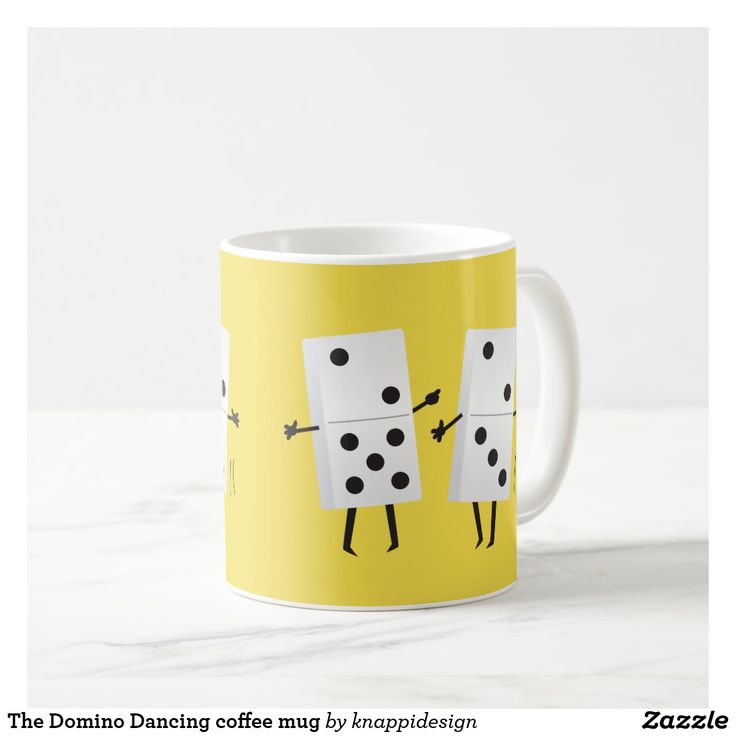 The Domino Dancing coffee mug with two dominoes dancing.  #dominodancing #eighties #memories #jokes #literally #80s #petshopboys #dominoes #dance #coffeemug #funny #illustration #doodle