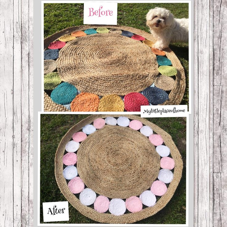 Children's jute rug before and after