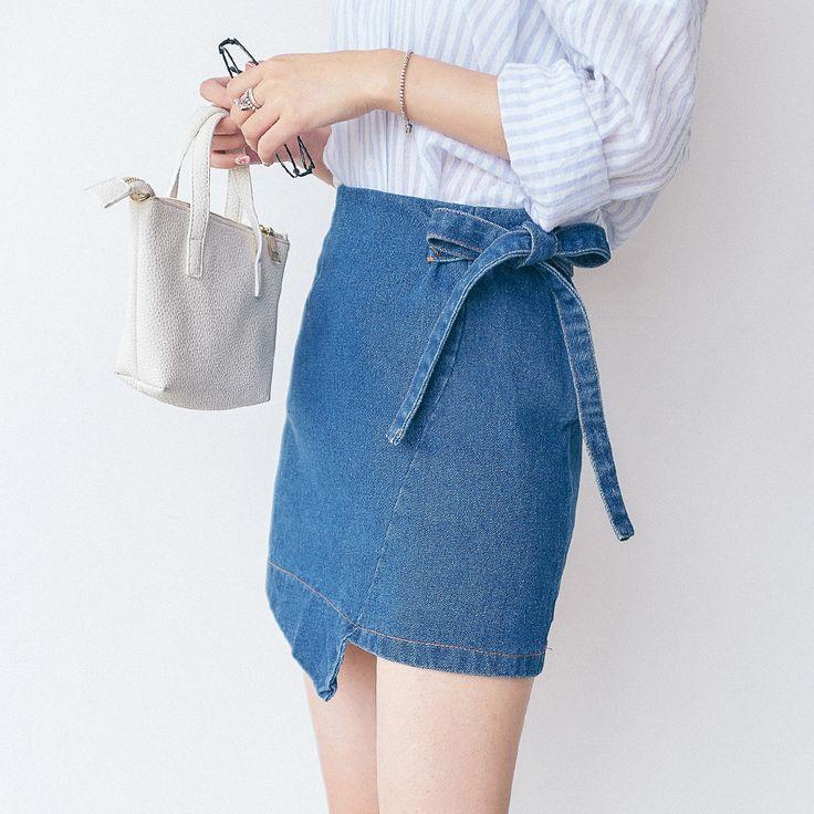 Korean fashion solid color denim skirt                                                                                                                                                                                 More