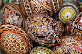 "Eggart in Romania include the grounds of the Romanian traditional fabrics, with the whole content of sacred signs. According to the Romanian folklore scholar and ethnographer Artur Gorovei, in a study in 1937 of the symbolist painted eggs in Bucovina, ""they contained 291 signs"". (from the text ""Bucovina - painted Easter Eggs"").  In Romania, painted eggs are still made in the traditional basket (cosarca) who is consacred in the Church of the Resurrection in the night."